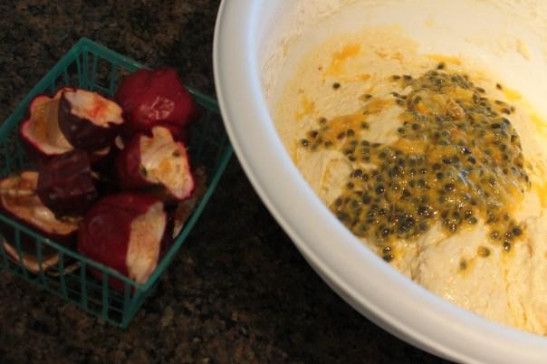 passionfruit, poppy seeds, muffins, mini, coconut, recipe, breakfast, brunch, batter