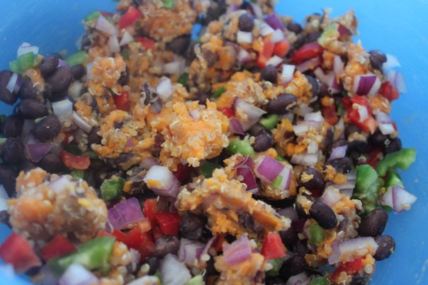 sweet potatoes, black beans, jalapeños, red peppers, onions, garlic, burger mixture, vegetables