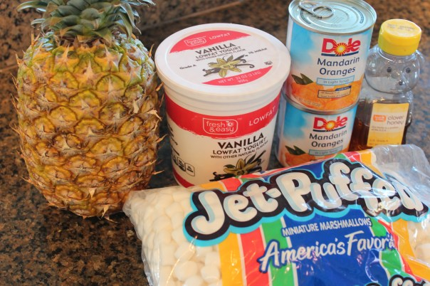 pineapple, mandaran oranges, marshmallows, fruit dip, fruit skewers, candy corn, halloween, fall, vanilla yogurt, honey