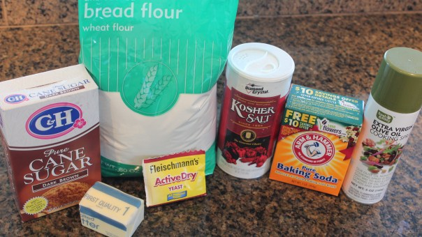 brown sugar, bread flour, kosher salt, baking soda, butter, yeast, olive oil cooking spray, ingredients, recipe