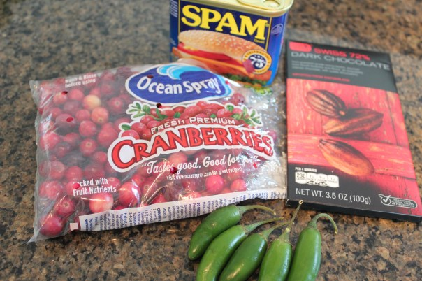 cranberries, dark chocolate, serrano chilies, spam, ingredients, mystery basket, chopped challenge