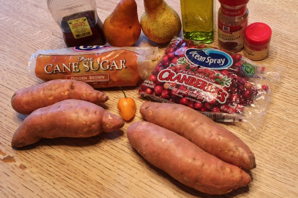 yams, sweet potatoes, habanero peppers, cranberries, habaneros, ground ginger, cinnamon, pears, brown sugar, honey