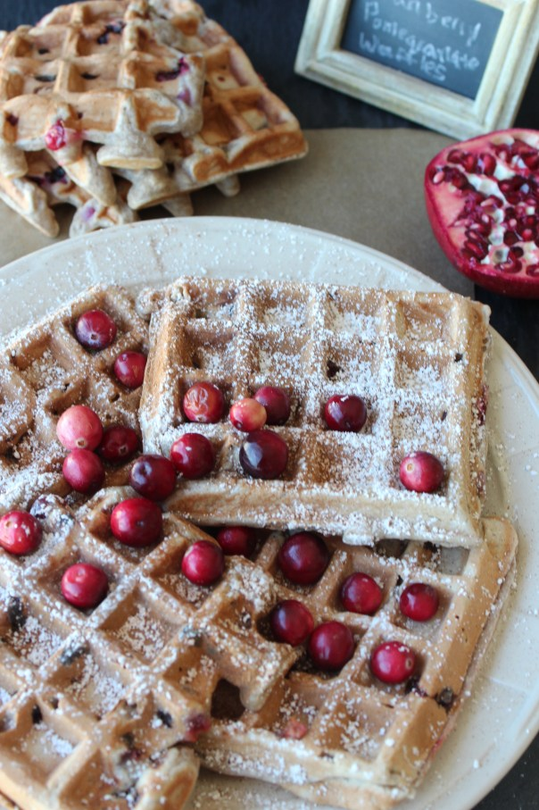 cranberries, pomegranates, cranberry waffles, pomegranate waffles, cranberry pomegranate waffles, waffles with butter, fall fruit waffles, recipe, food