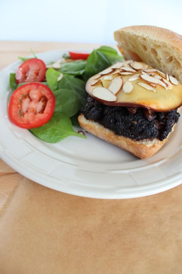 gouda cheeseburger, bond burger, coffee crusted cheeseburger, toasted almond burger, mushroom burger, cheeseburger with focaccia bun, spinach almond salad, recipe, food