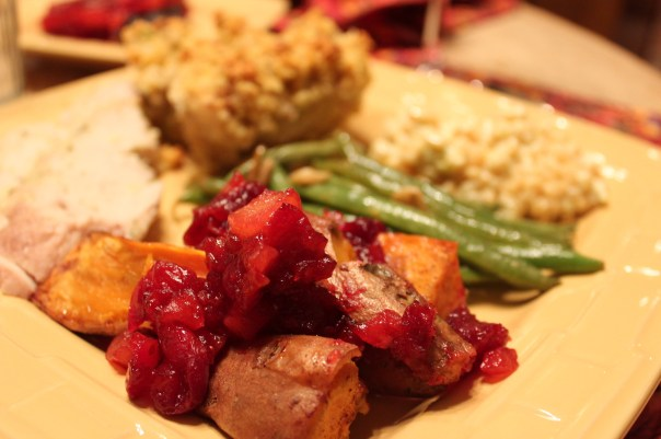 turkey, dressing, green beans, spicy cranberry yams, creamed corn, cranberry pear glaze, cranberry pear yams, cranberry pear sweet potatoes