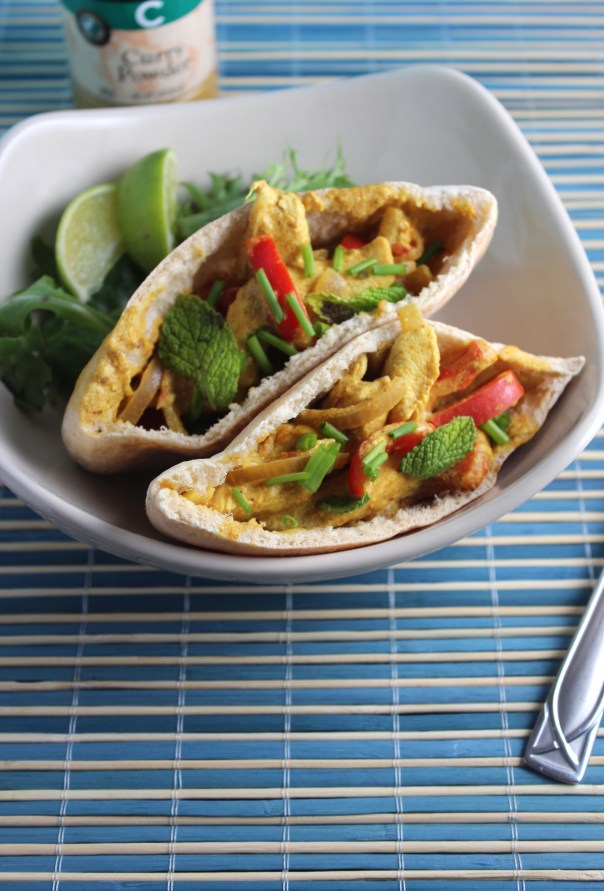 Indian Curry Chicken Pita