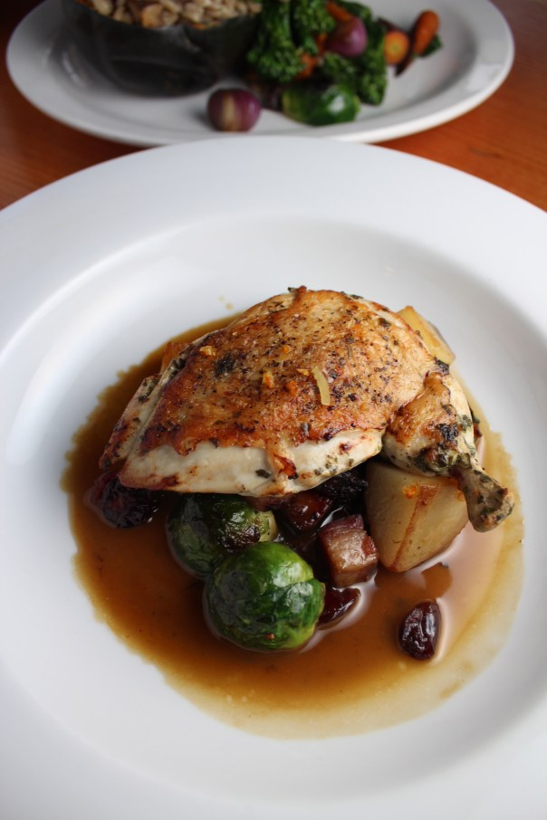 free range chicken, roasted chicken, quality social, recipes, food, brussels sprout and potato hash, brussels sprouts with pancetta, cranberry brussels sprouts, potatoes in chicken broth, winter vegetables, lemon herb chicken