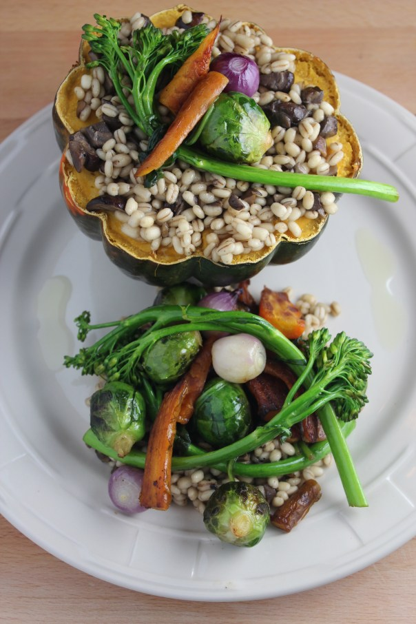 risotto style barley, mushroom barley, stuffed squash, barley squash, vegetable stuffed squash, winter vegetables, vegetarian dish, recipes, food