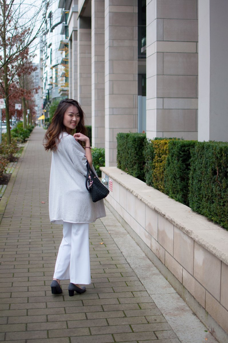 Oversized Cardigan and White Trousers