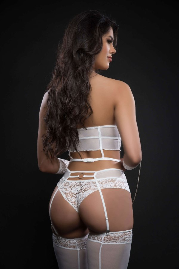 4pc Lace Up Strappy Halter Bustier With Matching  Garter Boyshorts and Stockings- One Size - White