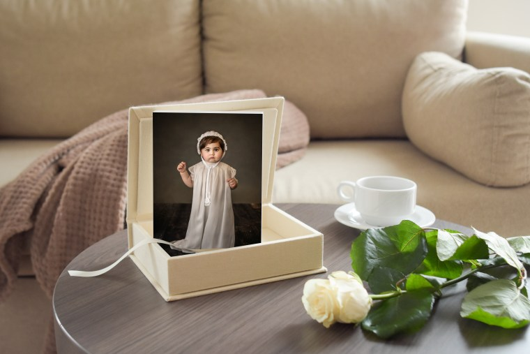 custom prints from a children's photo session mounted in a beautiful box