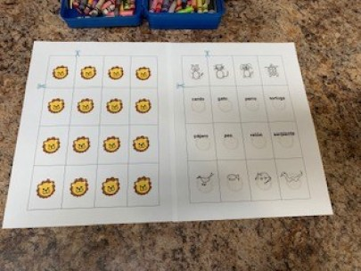Little Lions Learn Printable Memory Game language activity for children