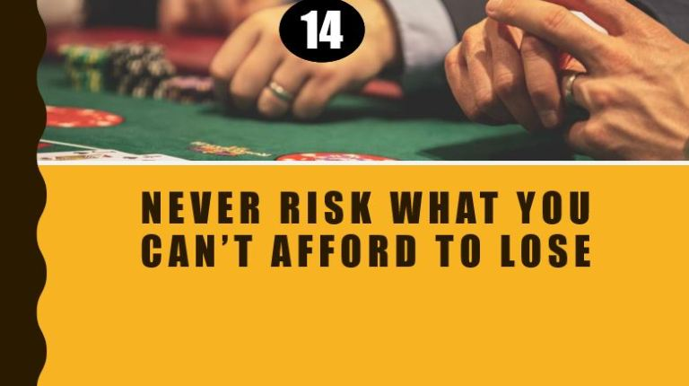 Never Risk, cannot afford to lose