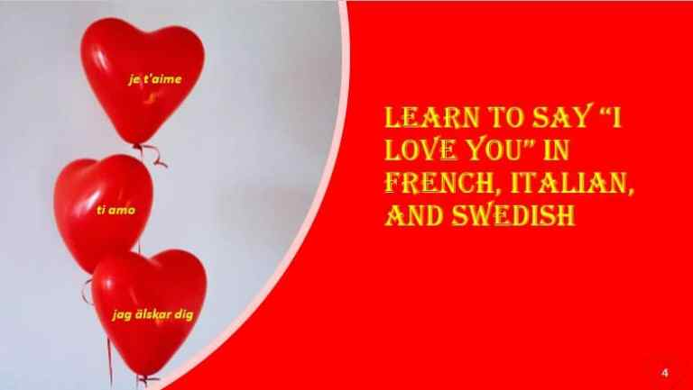 """Learn to say """"I love you"""" in French, Italian, and Swedish"""