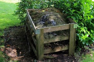 How to compost, wooden crate full of compost and dirt.