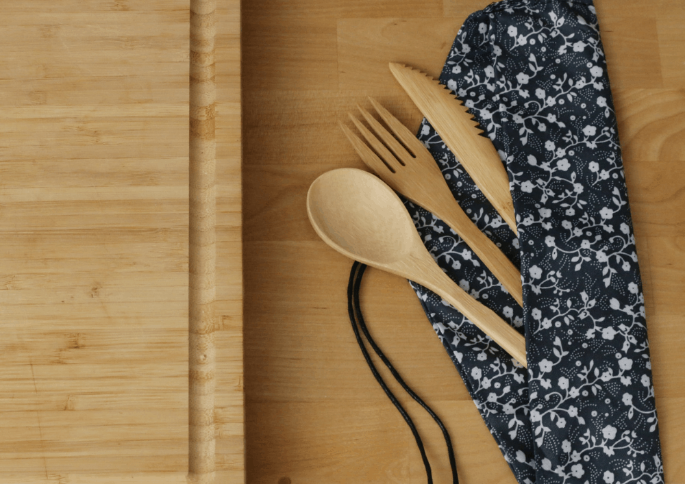 Bamboo utensils are amazing eco-friendly travel products. These ones have a pouch that makes them very portable.