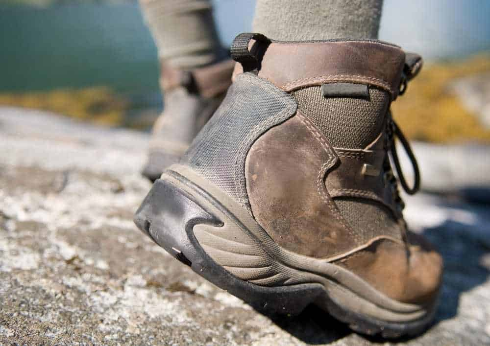 Close up of a walking boot.