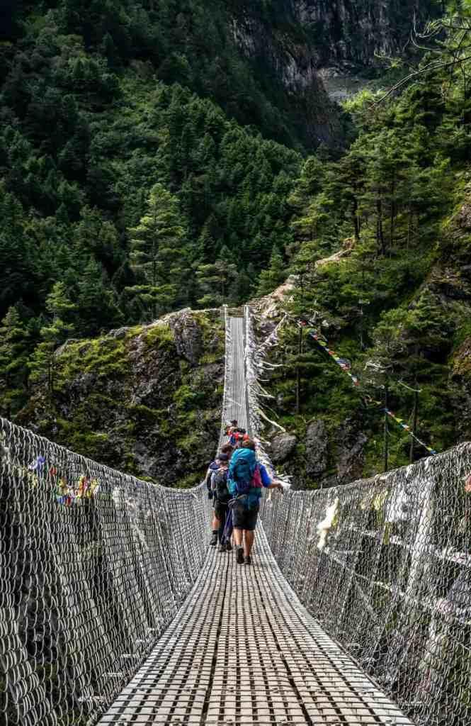 Backpackers in Everest Region of Nepal