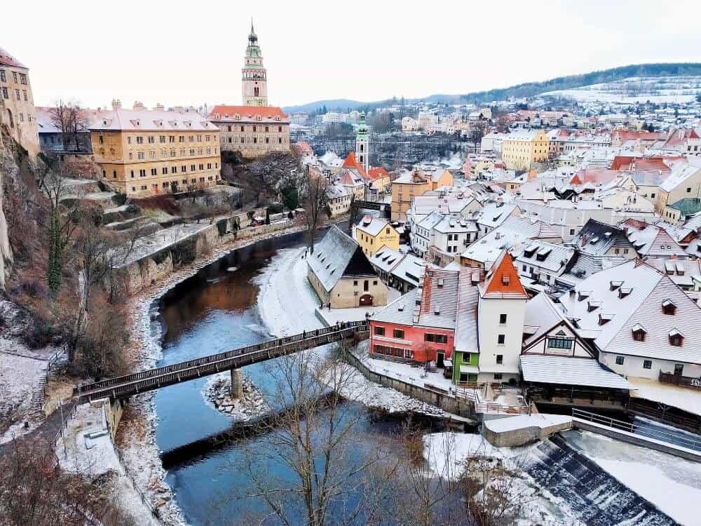 A snowy town in Czechia