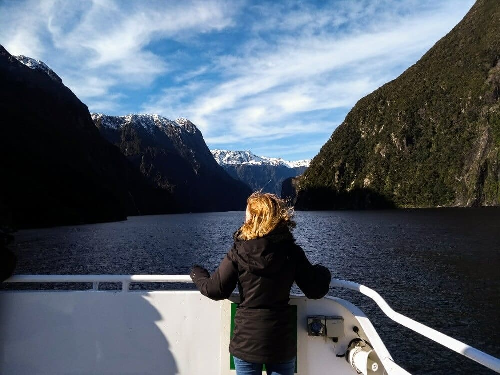 girl on a cruise in the Milford Sound
