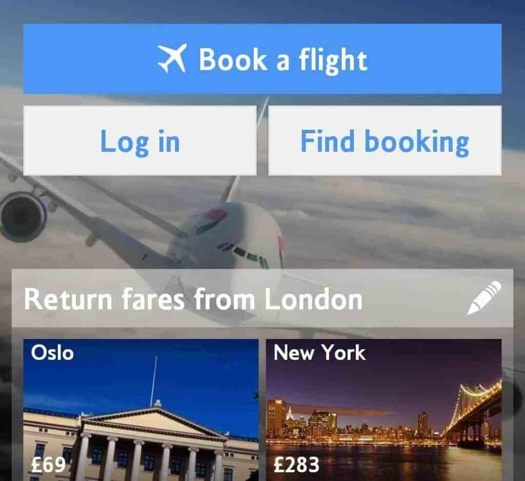 British Airways travel app screenshot