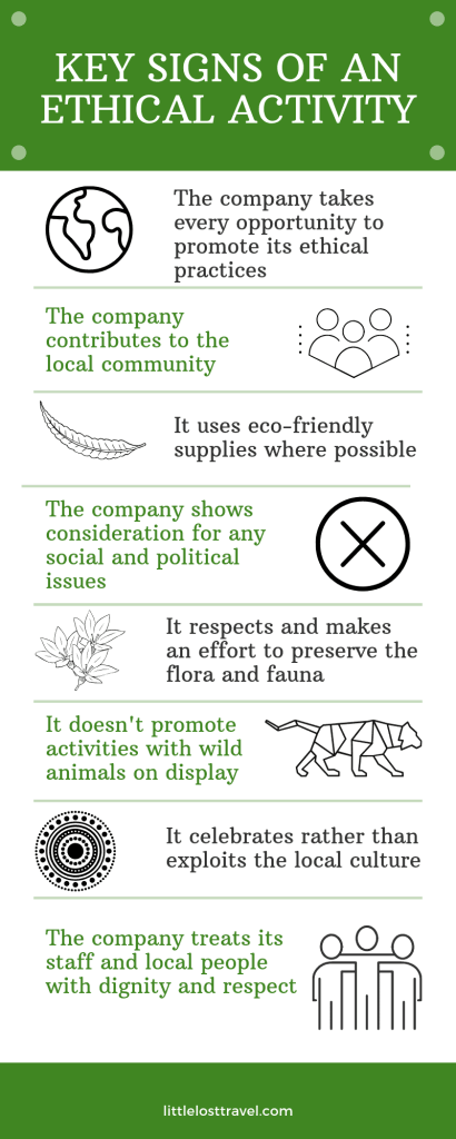 Pinterest infographic showing the key signs of an ethical activity.