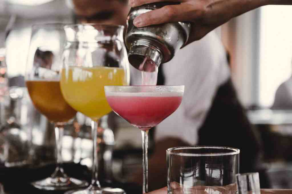 Four cocktails sitting in a row for Europe's Top 5 Most Sustainable Cocktail Bars.