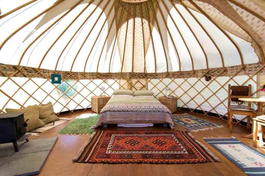 inside yurt at cotna eco retreat