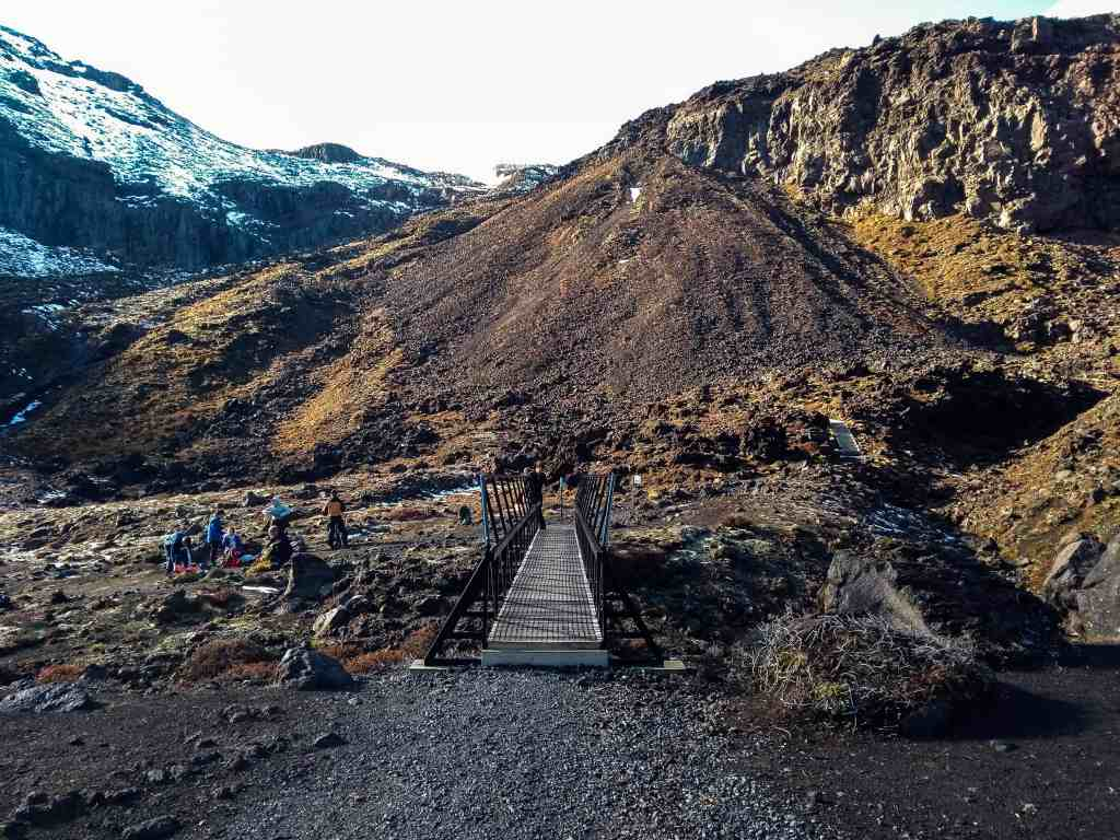 The bridge before the Devil's Staircase - tongariro crossing in winter