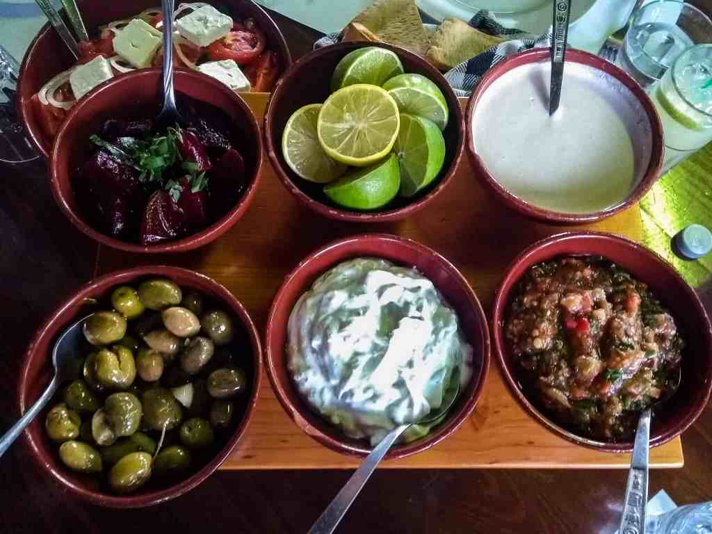 Cyprus traditional food and drink dips