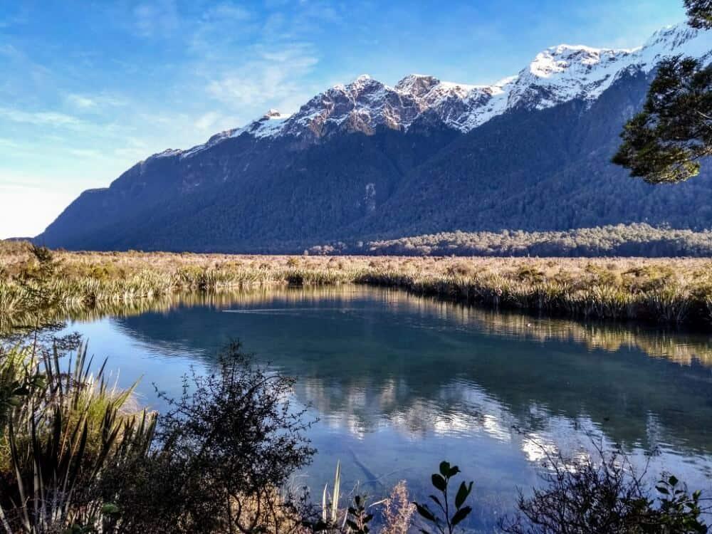 Mirror Lakes in Fiordland National Park