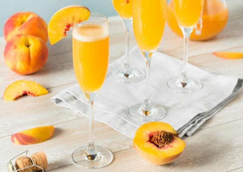 Bellinis are made with white peach puree