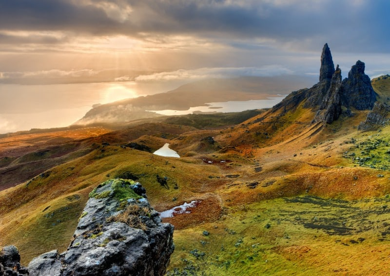 View of the Old Man of Storr rocks at sunset.