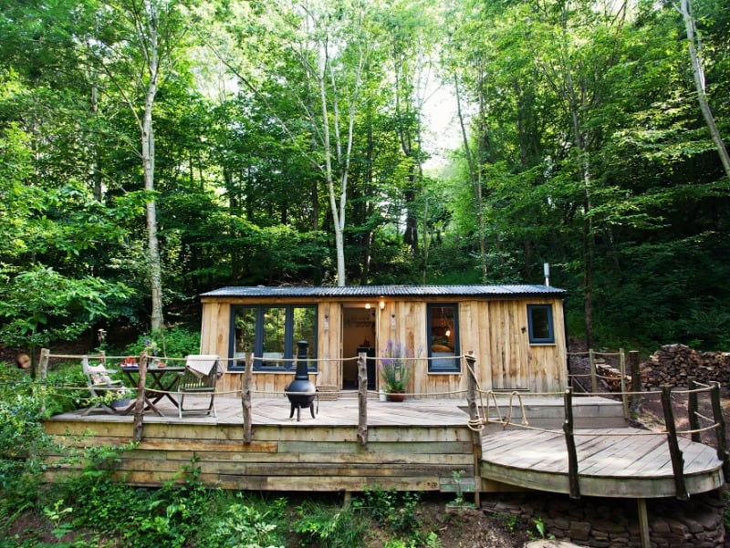 The Writer's Cabin in the woods in Monmouthshire.