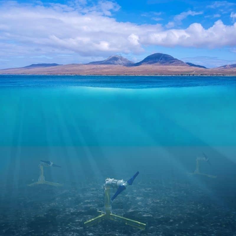 Nova tidal eergy turbine under the sea near Islay in Scotland.