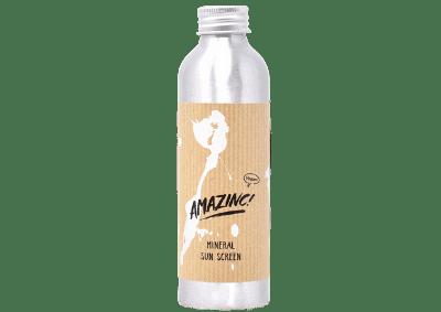 Bottle of Amazinc, oe of the best zero waste sunscreens