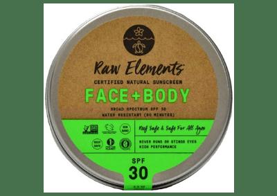Tin of raw elements zero waste sunscreen