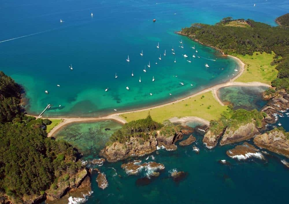 Bay of Islands rocks and beaches fom above
