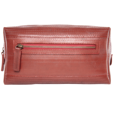 Product image of a red firehose wash bag by Elvis & Kresse for travel.