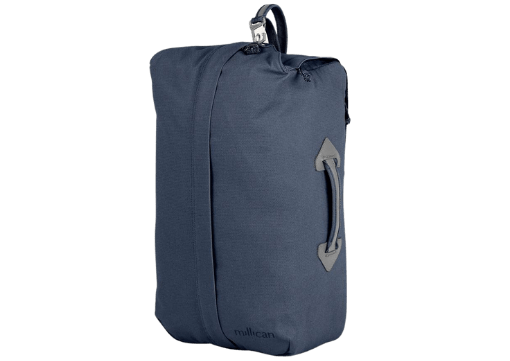 Home of Millican Miles The Duffle backpack in slate blue. one of the best eco-friendly travel bags.