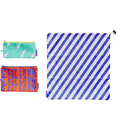 Three colourful travel pouches from Yes! Studio.