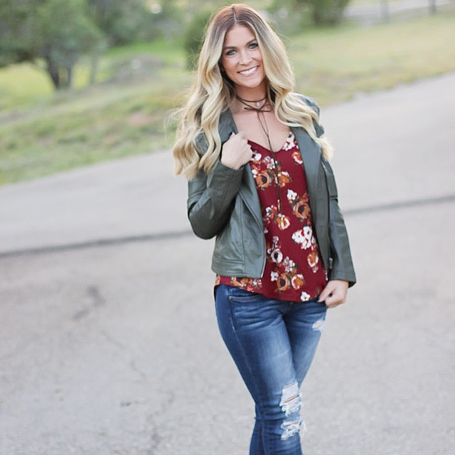 faux leather moto jacket from agaci and fall floral top