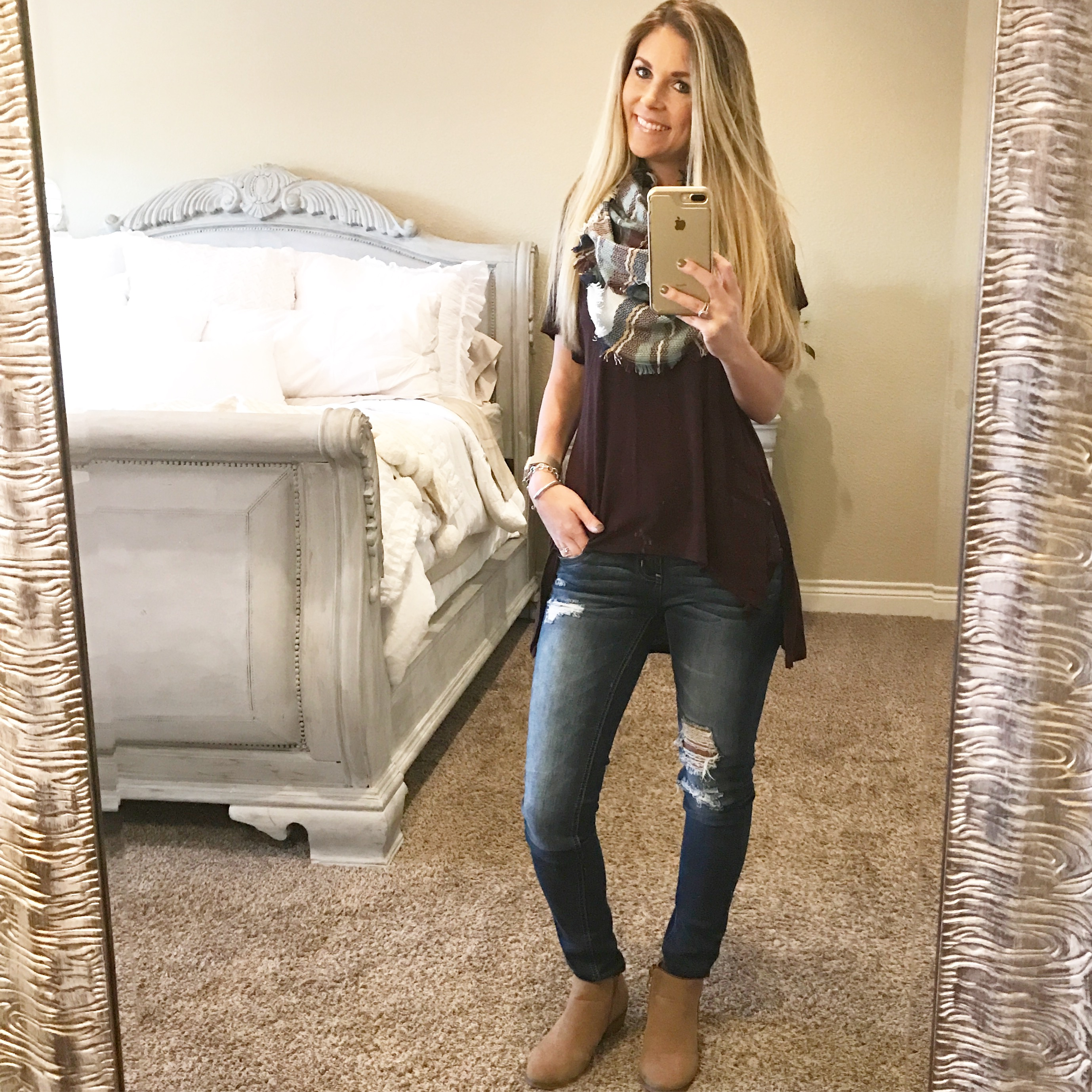 simple tee with scarf and distressed jeans and booties fall outfits