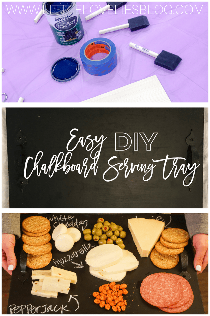 Easy DIY Chalkboard Serving Tray to serve for super bowl snacks cheese tray with olives (sponsored: https://ooh.li/ac3daf1)