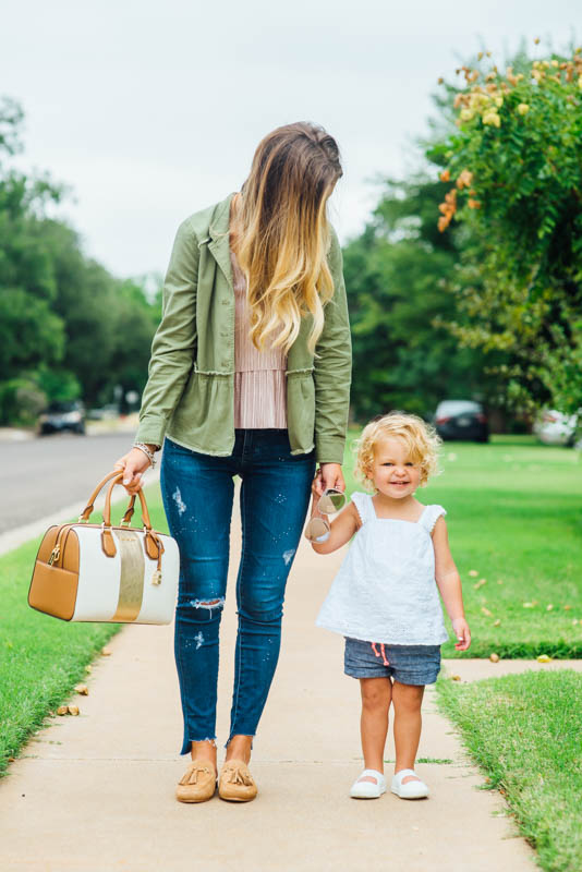 GB top and slides feminine fall fashion outfits with dillards