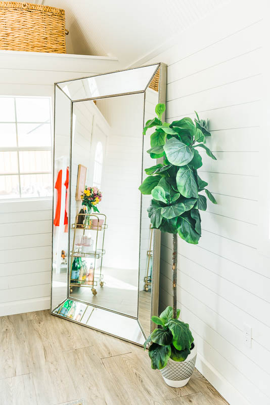 she shed blogger office bright white and gold faux fiddle leaf fig