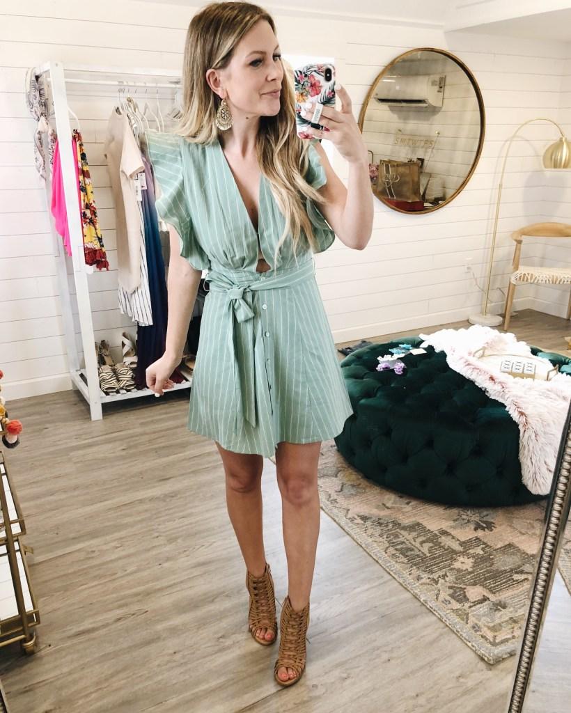 Don't Test It Sage Striped Dress