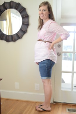 belted maternity shirt