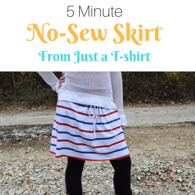 5 Minute No-Sew DIY T-Shirt Skirt