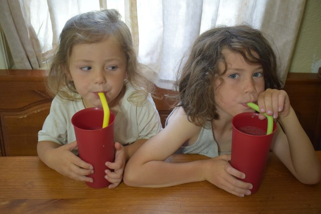 Drinking peanut butter chocolate smoothies
